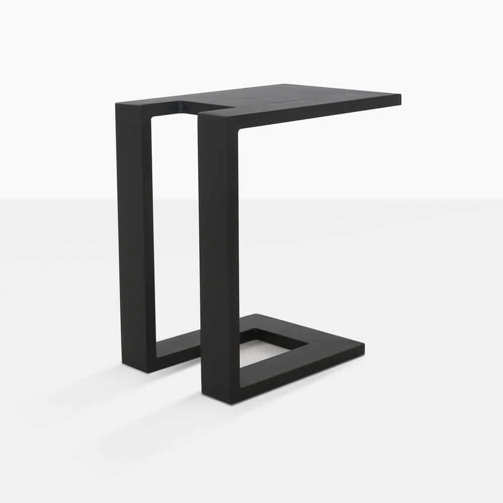 montgomery c-shaped aluminum side table in black rear angle view