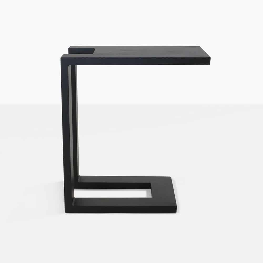montgomery c-shaped aluminum side table in black side view