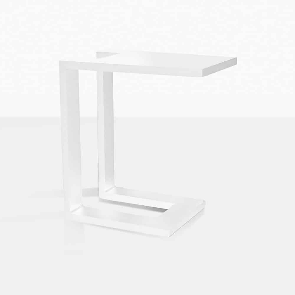 montgomery c-shaped aluminum side table in white angle view