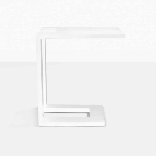 montgomery c-shaped aluminium side table in white side view