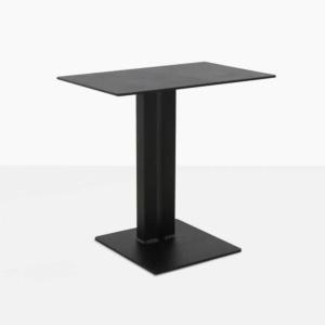 barrett square aluminum side table in black angle view