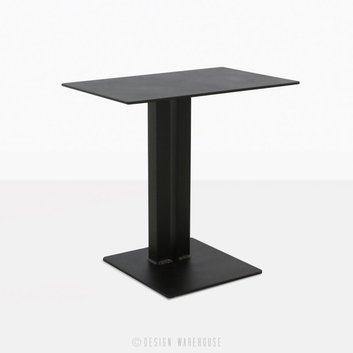 barrett square aluminium side table in black angle view