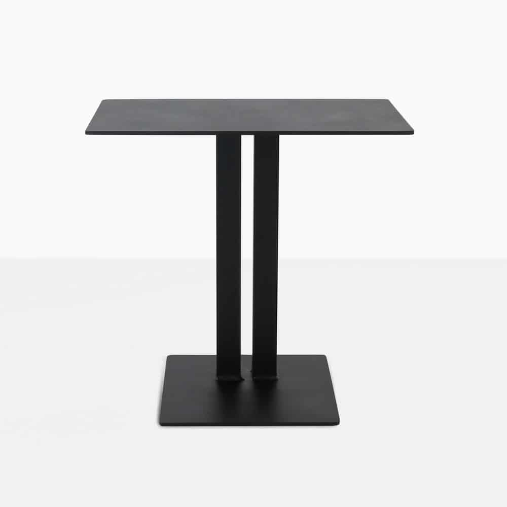 barrett square aluminium side table in black straight view