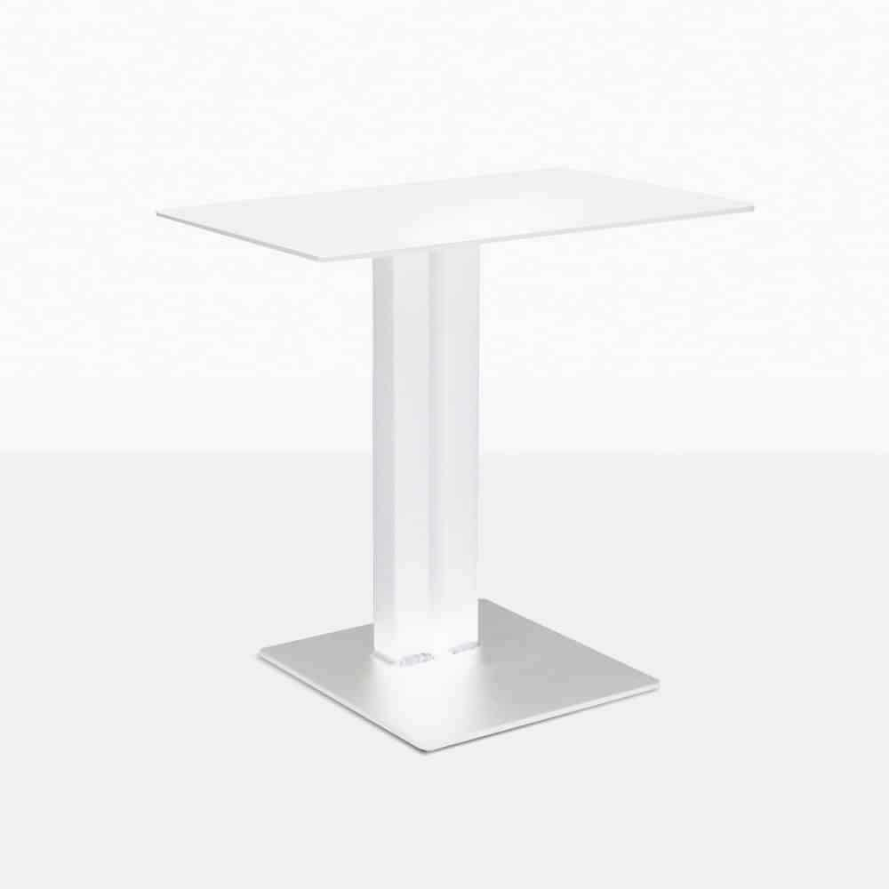 barrett square aluminum side table in white straight view