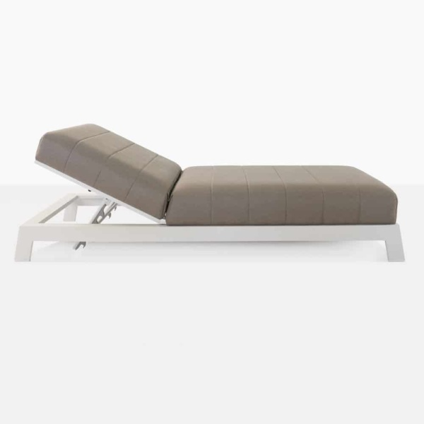 montgomery aluminium sun lounger in taupe side view