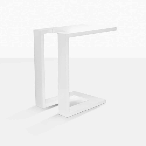 montgomery c-shaped aluminium side table in white rear view