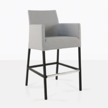 paddington aluminum bar chair in grey angle view