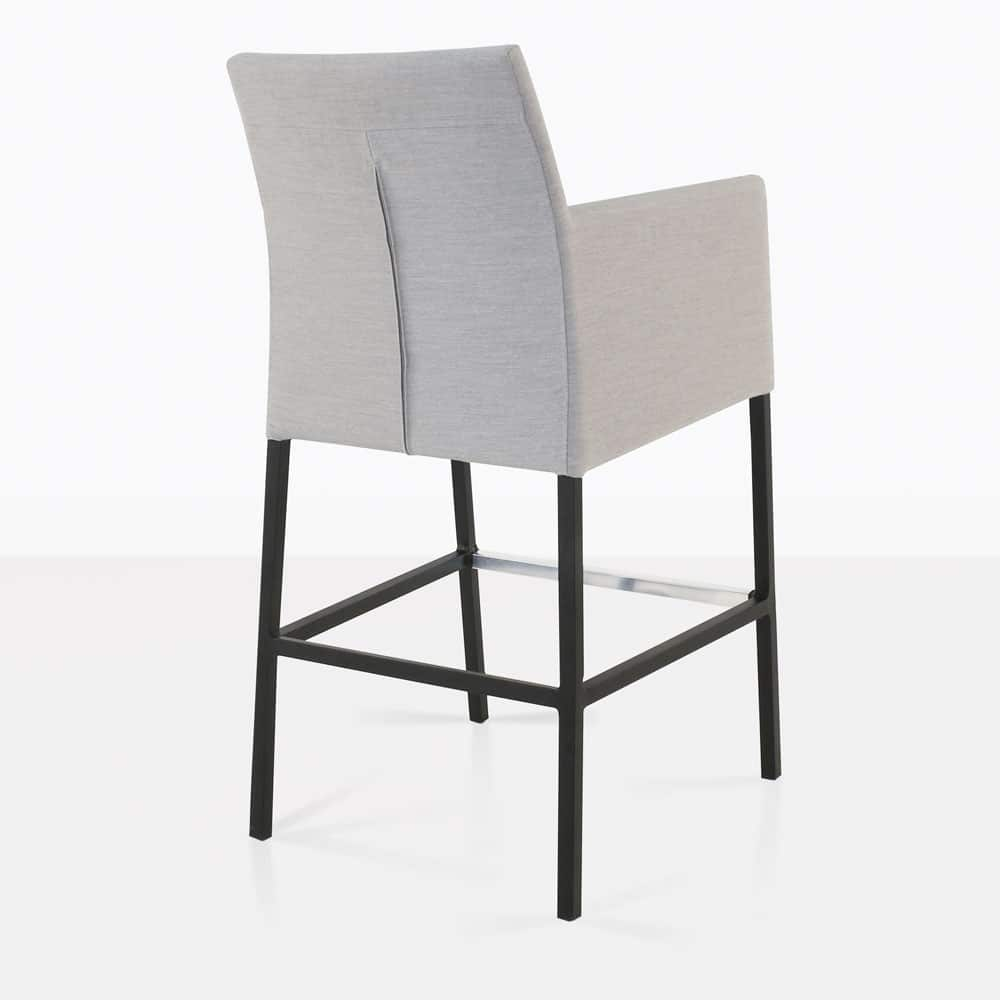 paddington aluminum bar chair in grey rear view