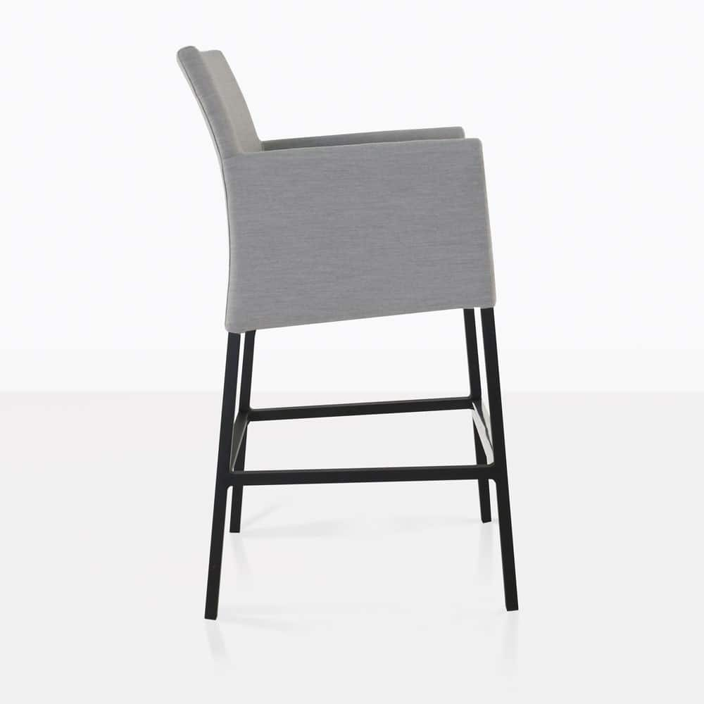 paddington aluminum bar chair in grey side view