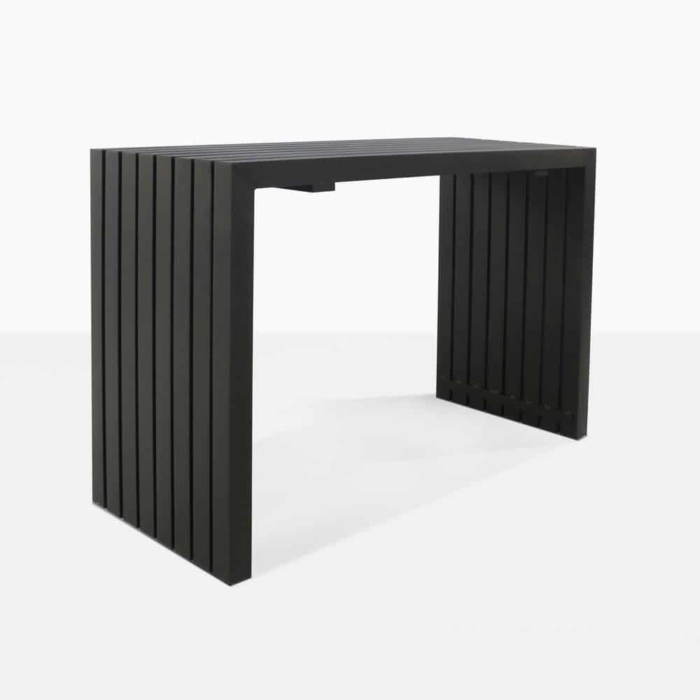 paddington aluminum bar table in black angle view