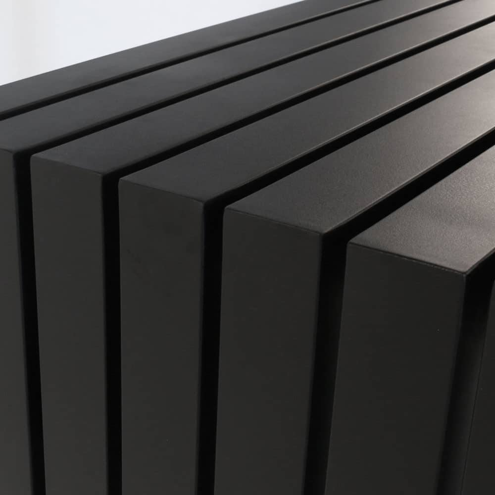 paddington aluminum bar table in black close up view