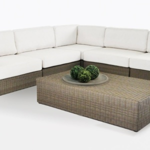 Austin Wicker Sectional Sofa with cushions