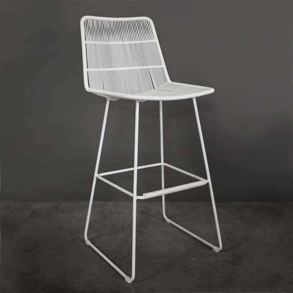 Nairobi Outdoor White Bar Stool Patio Pub Seating