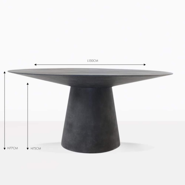 Holly black round concrete dining table