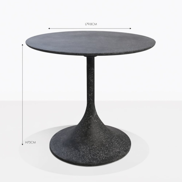 orgain black round concrete bistro table
