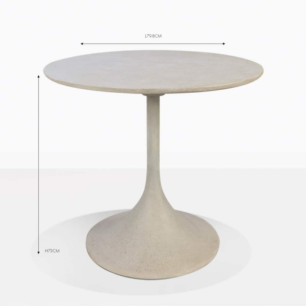 orgain grey round concrete bistro table