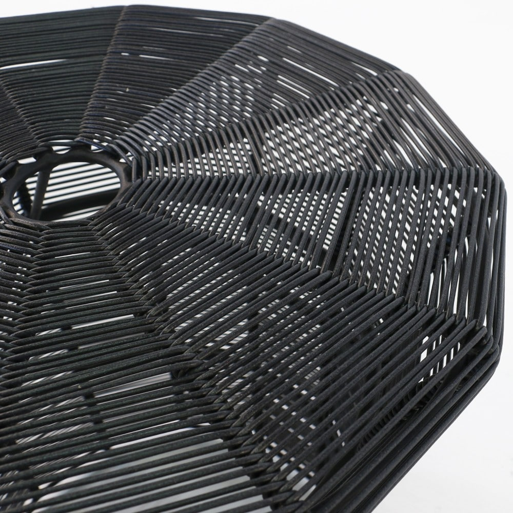 Black Wicker Outdoor Table Closeup