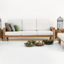 Raffles Teak Sofa and Chairs with white cushions