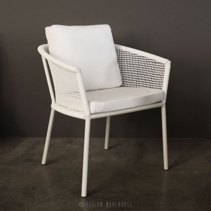 washington woven outdoor dining chair in white