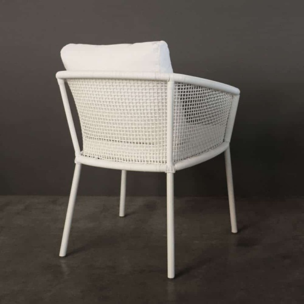 washington woven outdoor dining chair in white rear view