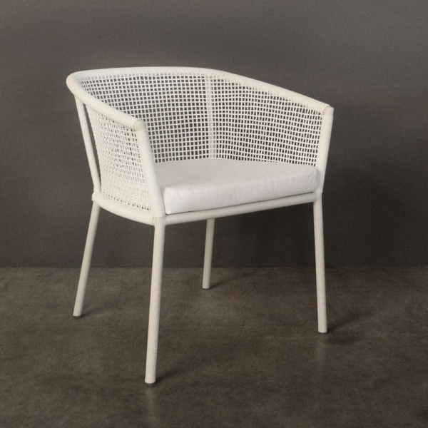 washington woven outdoor dining chair in white without cushion