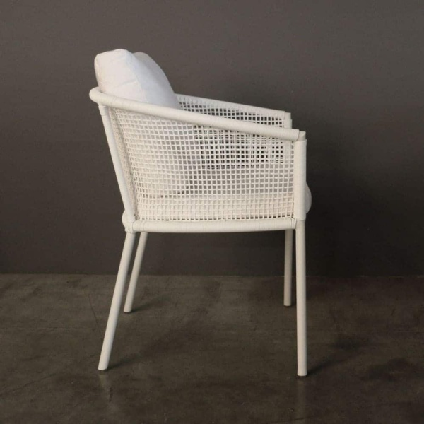 washington woven outdoor dining chair in white side view