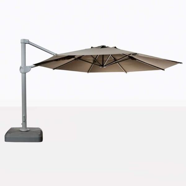 Bahama Round Cantilever Sunbrella Umbrella in Taupe