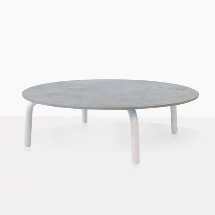Kobii Outdoor White Aluminium Round Coffee Table Design Warehouse Nz