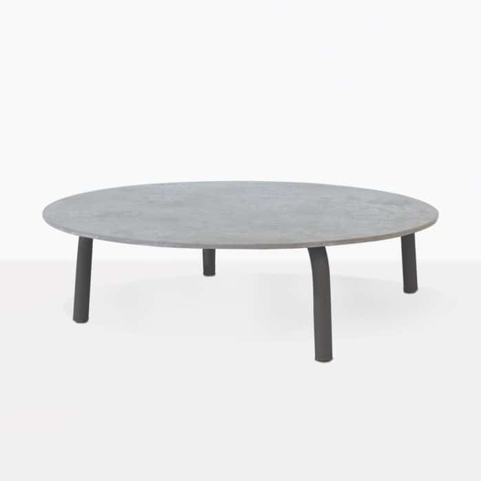 Kobii Low Round Outdoor Coffee Table With Dark Legs