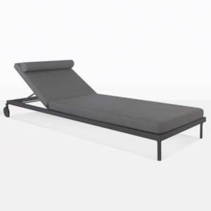Kobii Charcoal Aluminum Sun Lounger With Cushions