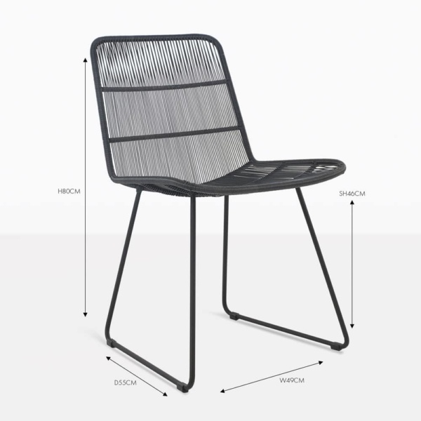 nairobi black wicker side dining chair