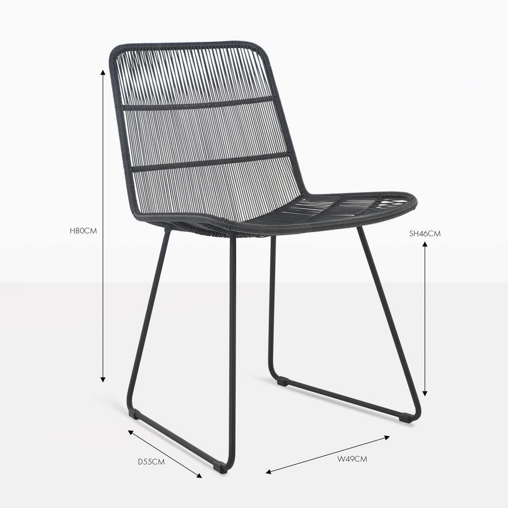 Nairobi Woven Black Dining Side Chair Patio Seating