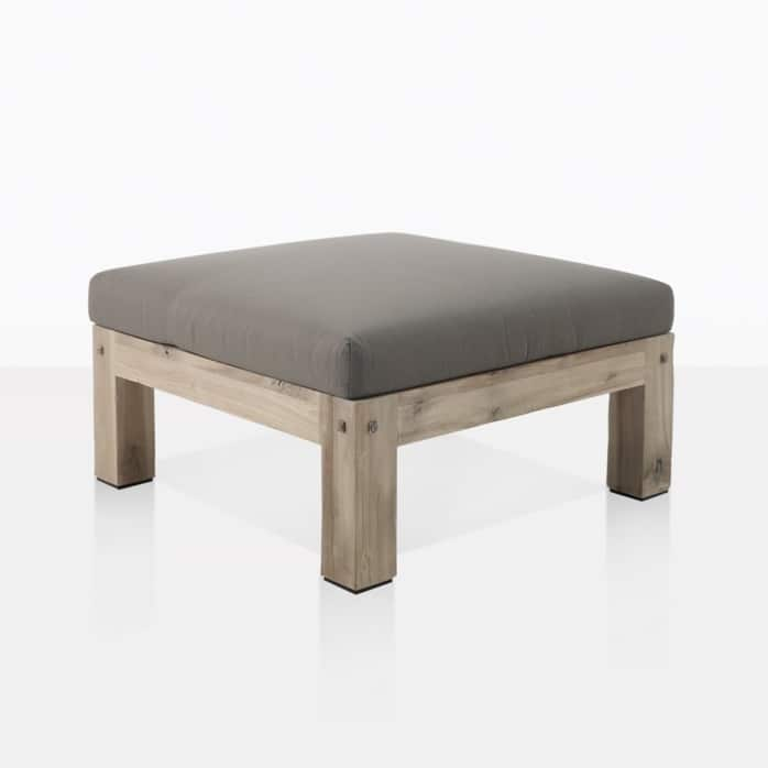 lodge outdoor distressed teak ottoman angle