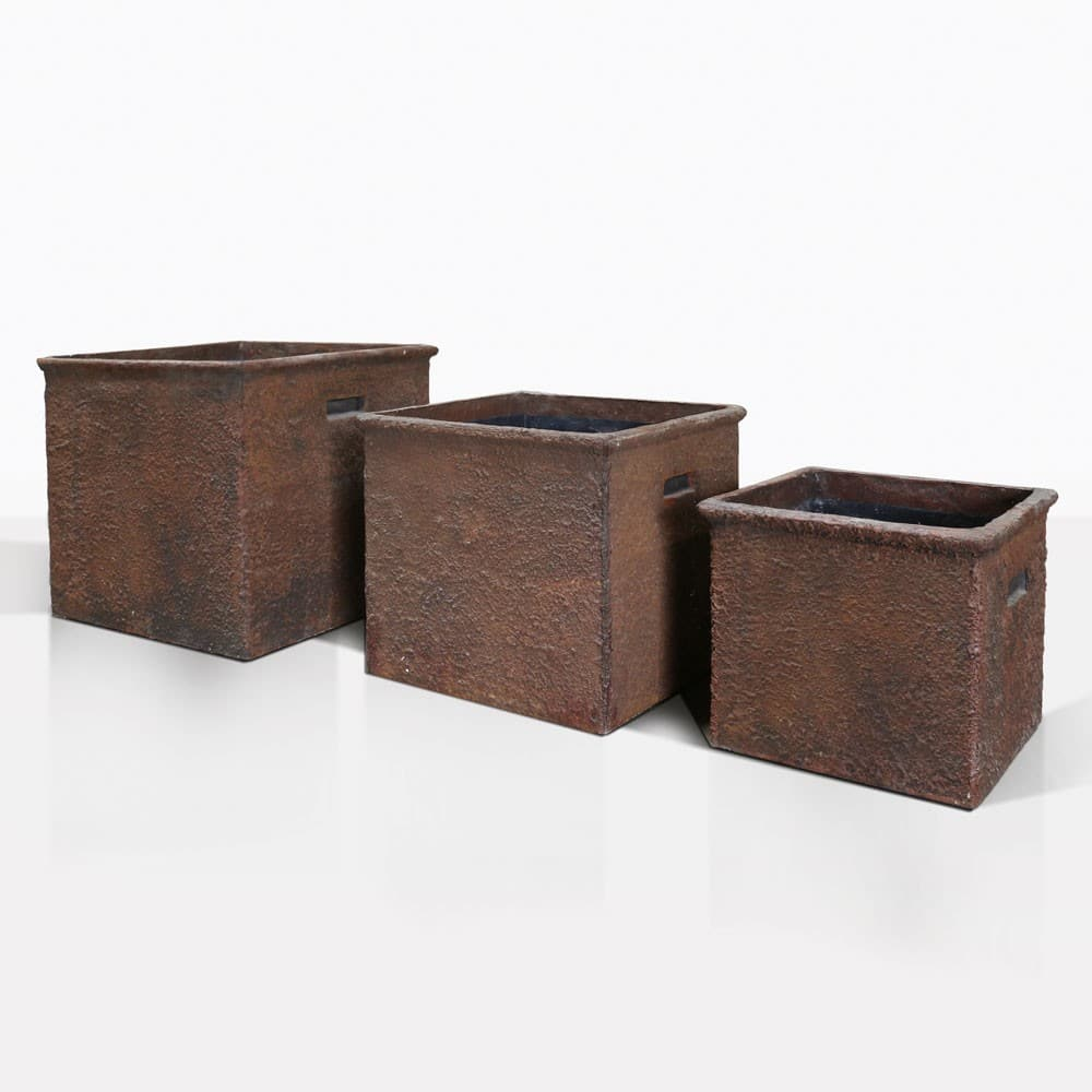 Square Handle Concrete Pots