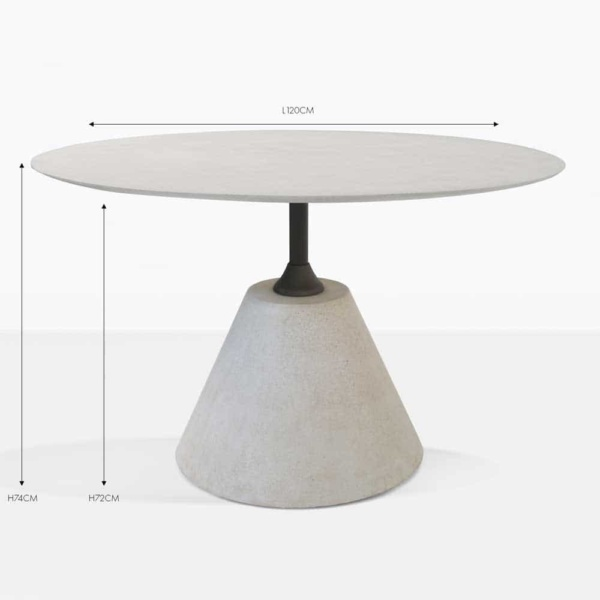 cee cee round concrete grey dining table