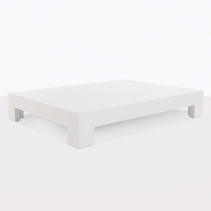 angle view White aluminum coffee table