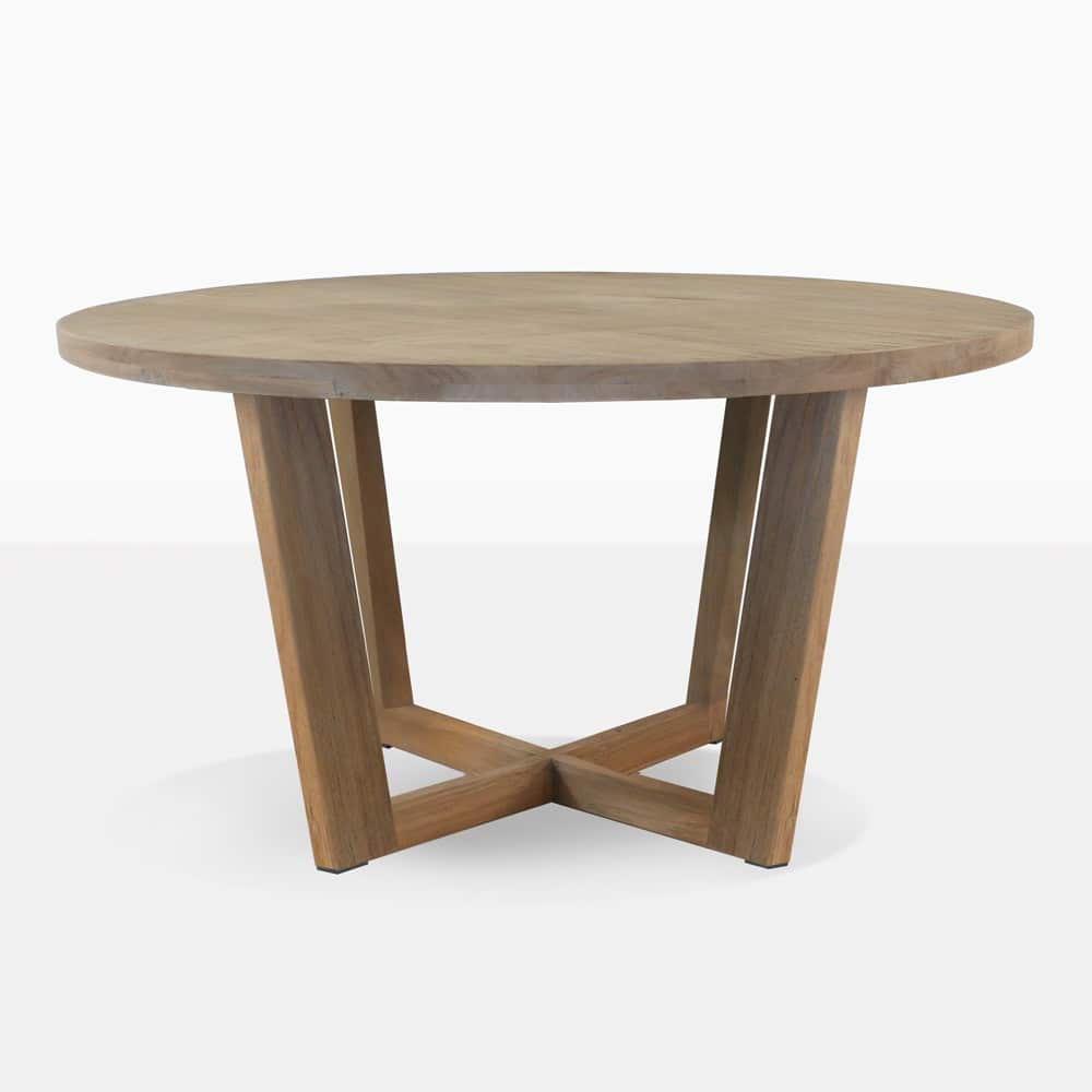 Coco teak round outdoor dining table design warehouse nz for Dining table design