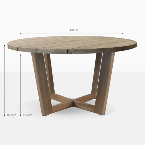 coco reclaimed teak round dining table