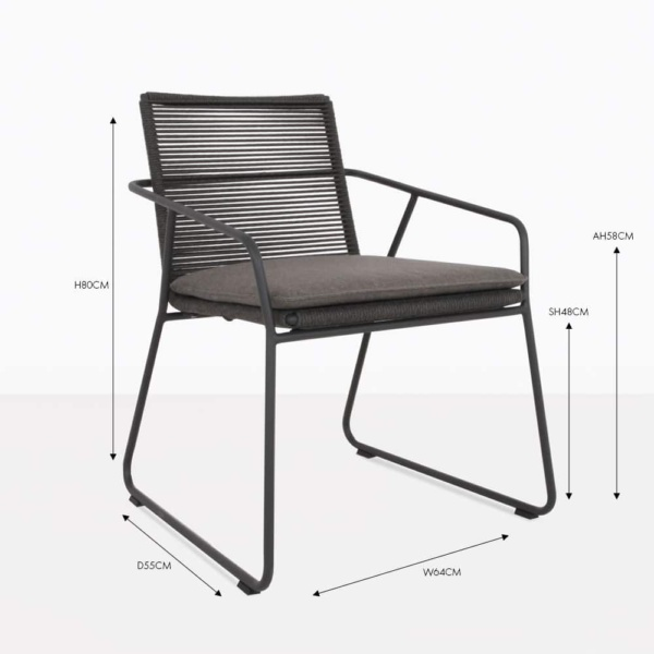 pierre charcoal rope dining chair with seat cushion