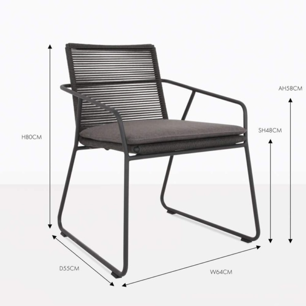 pierre charcoal outdoor dining chair