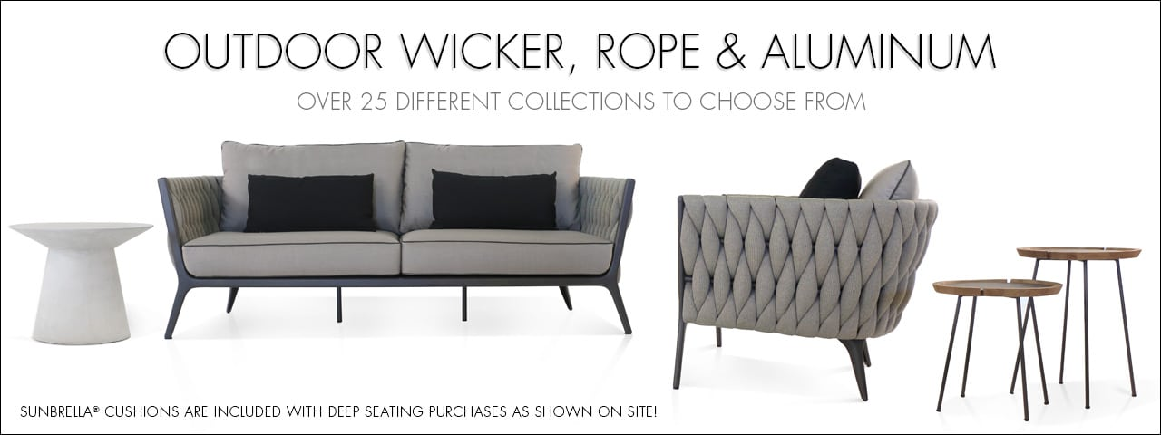 Outdoor Wicker, Rope and Aluminum