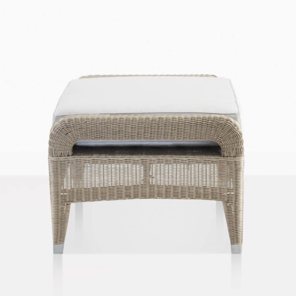 Aaron Wicker Outdoor Ottoman With White Cushion