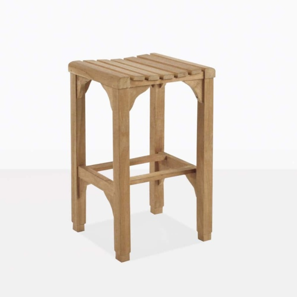 classic teak barstool outdoor backless angle