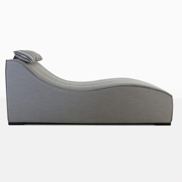 club 21 sun lounger in grey with stripes side view