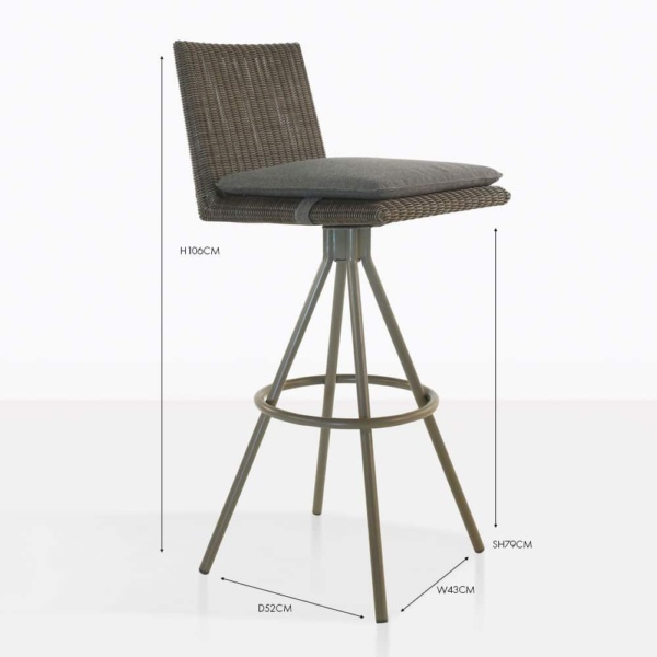 loop wicker bar stool brown