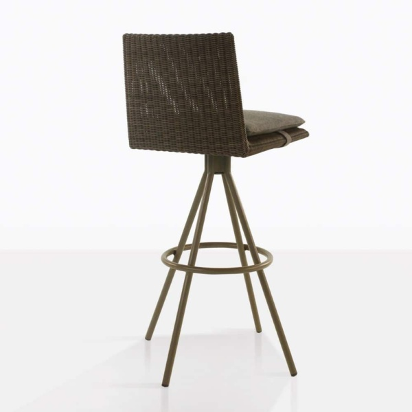 loop swivel bar stool in mud grey color rear view