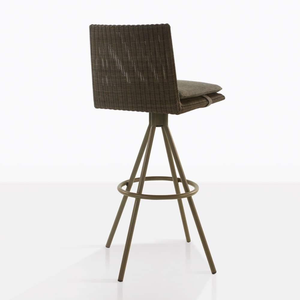loop swivel bar stool in mud grey color rear view