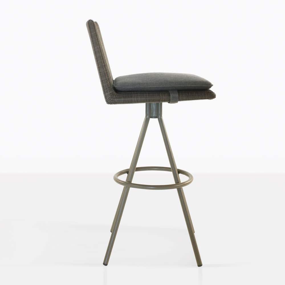 loop swivel bar stool in mud grey color side view