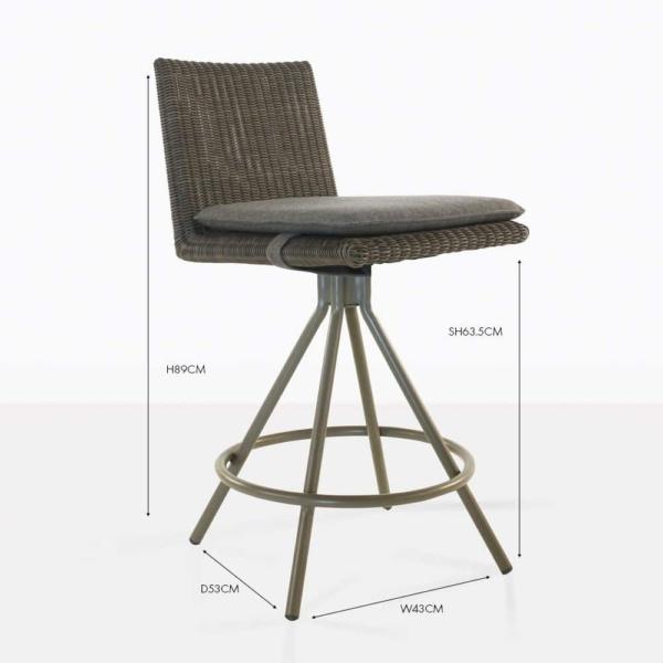loop wicker counter stool brown