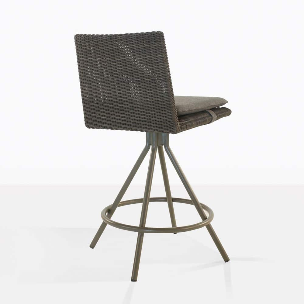 loop counter height stool in mud grey color rear view